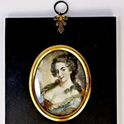 SALE Antique French HP Miniature Portrait, Frame - 'Naughty' - 1700s Mme de Genlis, Author and