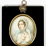 SALE Antique HP Georgian  Portrait Miniature, Long Gold Chain - Jewelry and Costume interest -