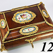 SALE Stunning Antique French Kingwood Veneer Jewelry Casket, Box, 5 Sevres Plaques