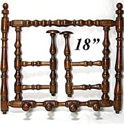 "SALE Wonderful Antique Edwardian Turned Wood 18.5"" Top Hat & Coat Rack"