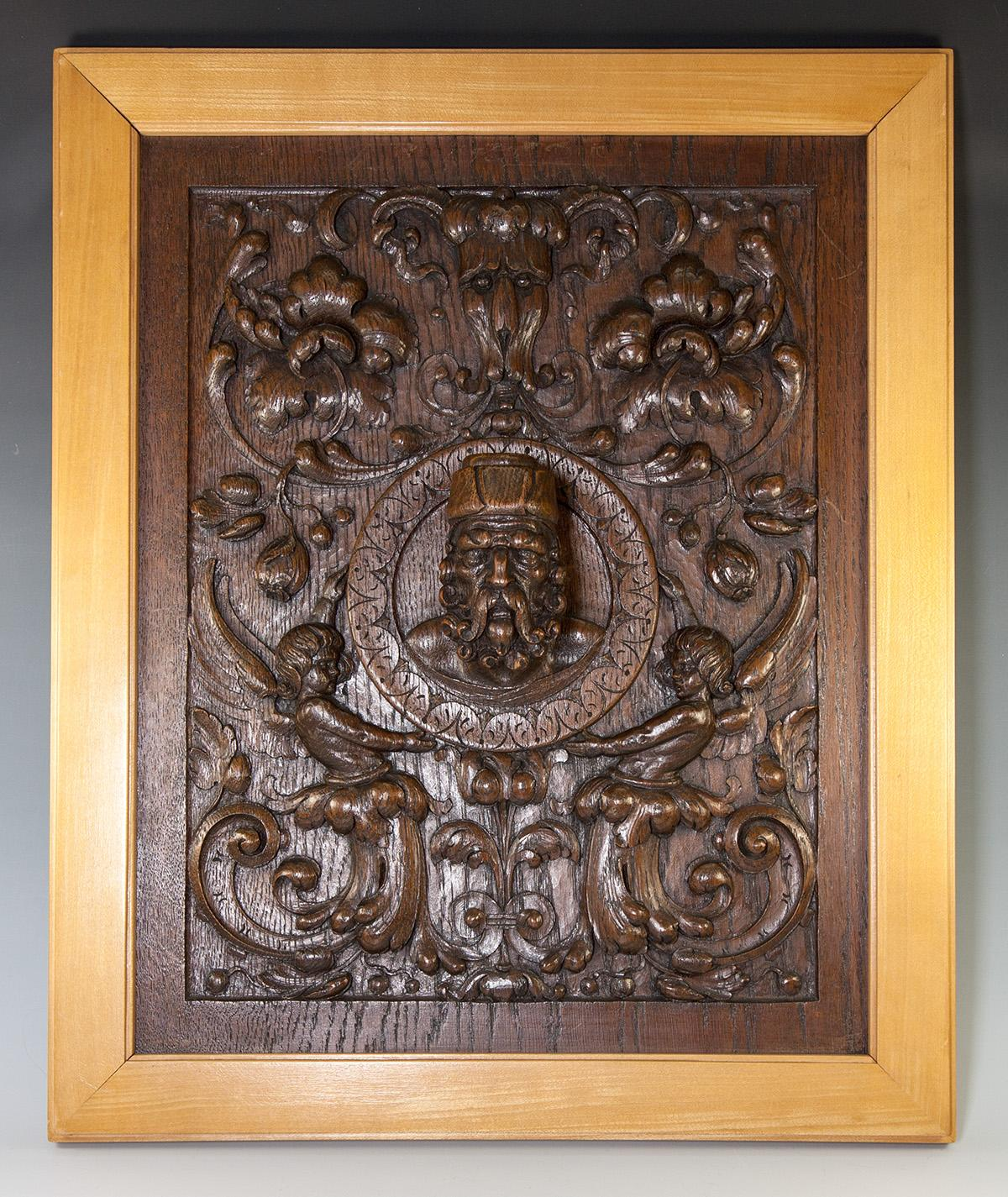 Fab antique hand carved oak panel in frame figural bas