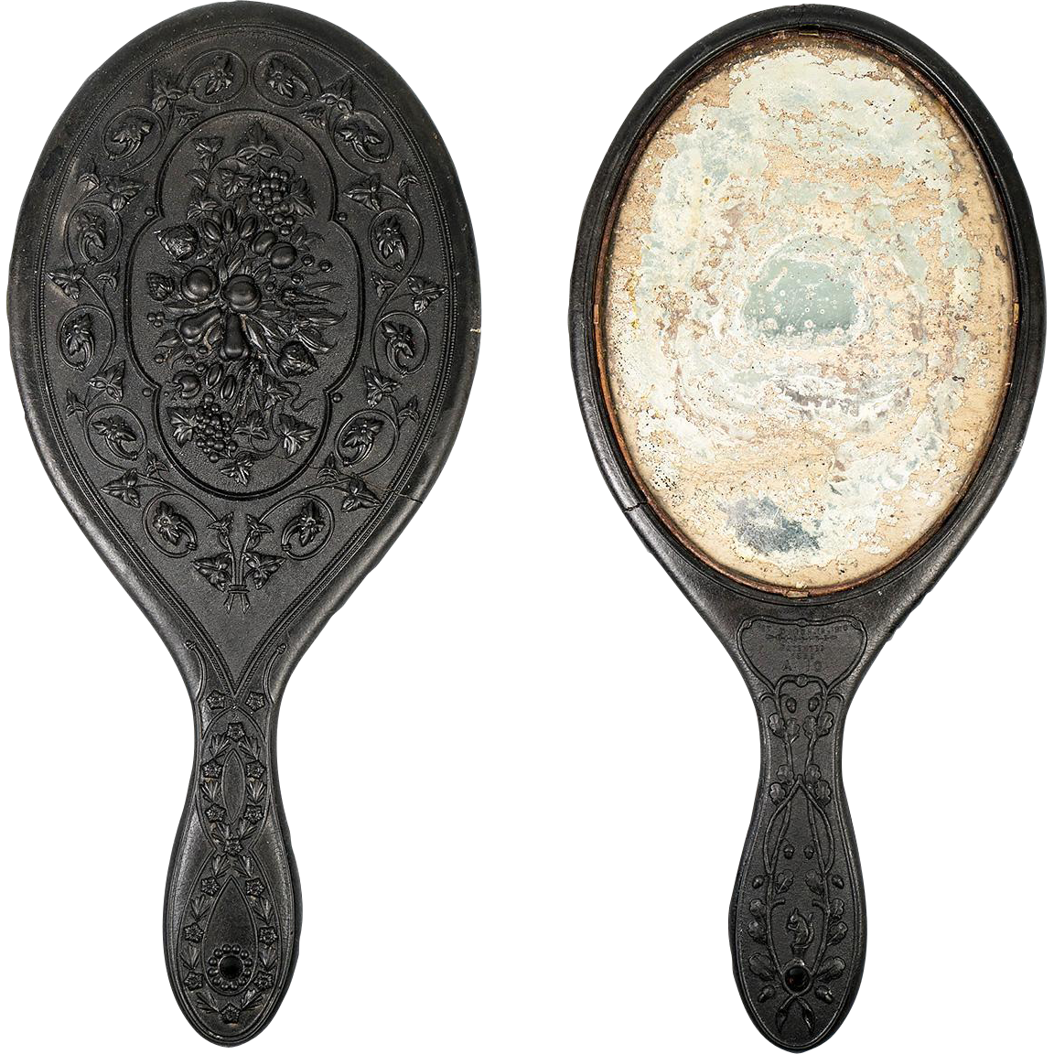 1860s Gutta Percha Vanity/Hand Mirror, Lovely Bas Relief Sculpture Effect