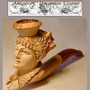 SALE Rare 19c Carved Meerschaum Pipe, Female Bust/Profile