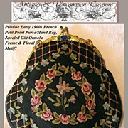 SALE 1920s French Antique Needlepoint Hand Bag/Purse, Jeweled Frame