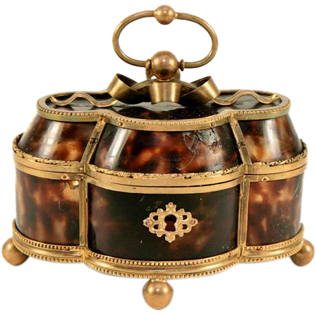 BIG Charles X Antique French Palais Royal Faux Tortoise Shell & Ormolu Casket - Tortoiseshell