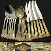 18pc SET Antique French Vermeil Sterling Silver Flatware: Service for SIX in Knives, Forks & S