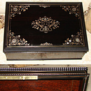 SALE LG Antique French Cashmere Chest, Ebony & Boulle Style Inlay