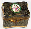 Antique Moser Glass Casket, Jeweled and with Portrait Miniature - c. 1820-50, working lock with key