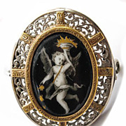 Antique Georgian Era French Brooch, Kiln-fired Enamel Cupid, Putti, Silver and Gold Locket Bac