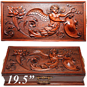 "Exceptional Antique Hand Carved 19.5"" Chest, Box, Angel, Putti and Grotesques"