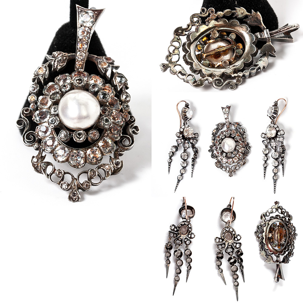 Antique French Jewelry Parure Of Pendant Chandelier