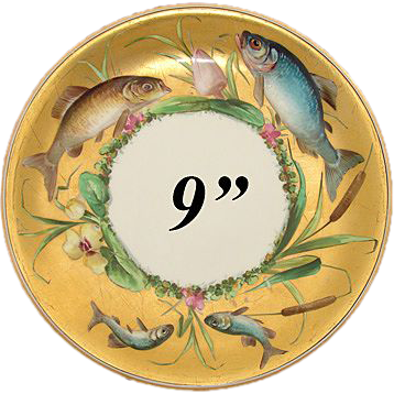 "Antique Minton 9"" Cabinet Plate, Gold with Hand Painted Fish, Flowers & Cattails!"
