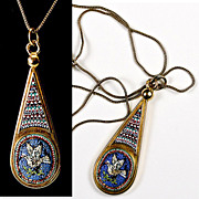 SALE Fine Antique 18k Gold, Etruscan Micro Mosaic Drop Pendant