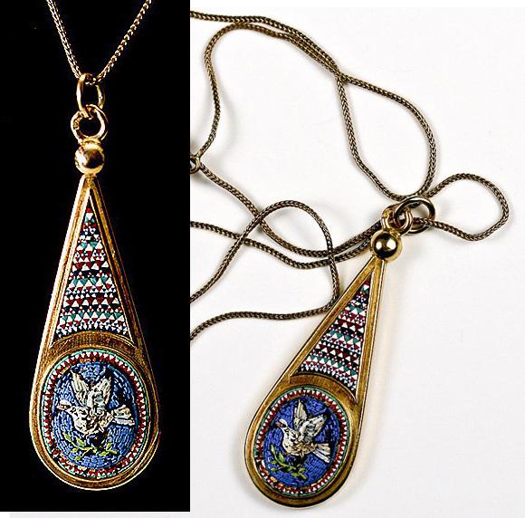Fab Antique 18k Gold Etruscan Micro Mosaic Drop Pendant