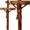 Antique Carved Wood Religious Sculpture, Medieval Style Crucified Christ on 17&quot; Cross
