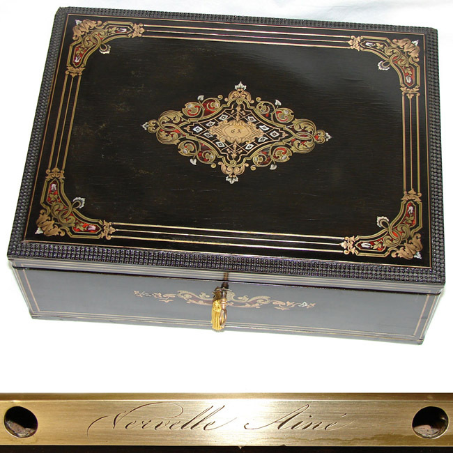 "VERVELLE Antique French 15"" Campaign Style Sewing, Jewelry & Valuables Chest, Boulle Inlay"