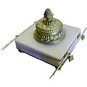 SALE Superb 19c French Ormolu/Alabaster Inkwell