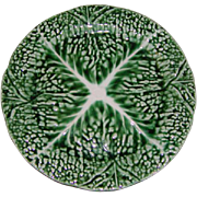 "SALE 1800s Antique 'Verte' Majolica 8"" Plate, Leafy Green #2"