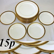 "SALE Antique Copeland Spode 10pc 10 1/4"" Plate Set, Blue & Gold"
