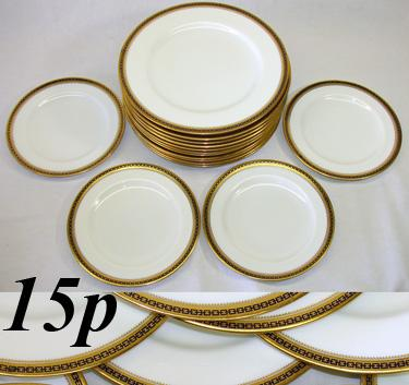 "Antique Copeland Spode 10pc 10 1/4"" Plate Set, Blue & Gold"