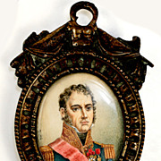 SALE Antique French Miniature Portrait, Napoleon Military Officer