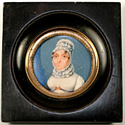 SALE Antique French Miniature Portrait, Napoleon Era Matron, Frame