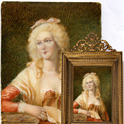 SALE Antique French Miniature Portrait in Fine Dore Bronze Frame - Mme de Montesson