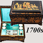 SALE Regency Era Penwork Sewing Box, Casket with Sewing Tools, MOP Spools