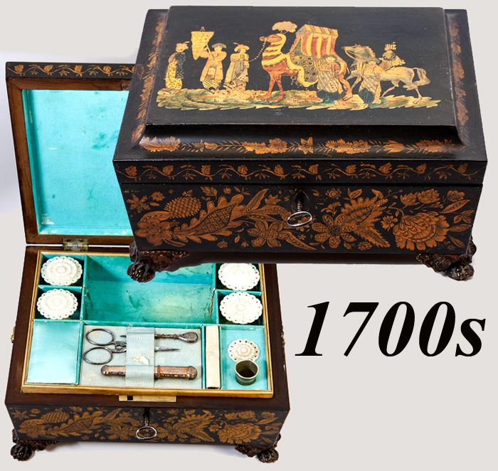 Regency Era Penwork Sewing Box, Casket with Sewing Tools, MOP Spools