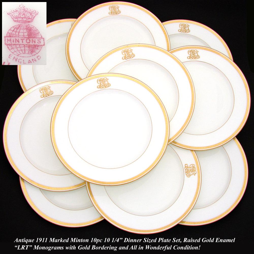 Antique 1911 MINTON 10pc Dinner Plate Set Raised Gold