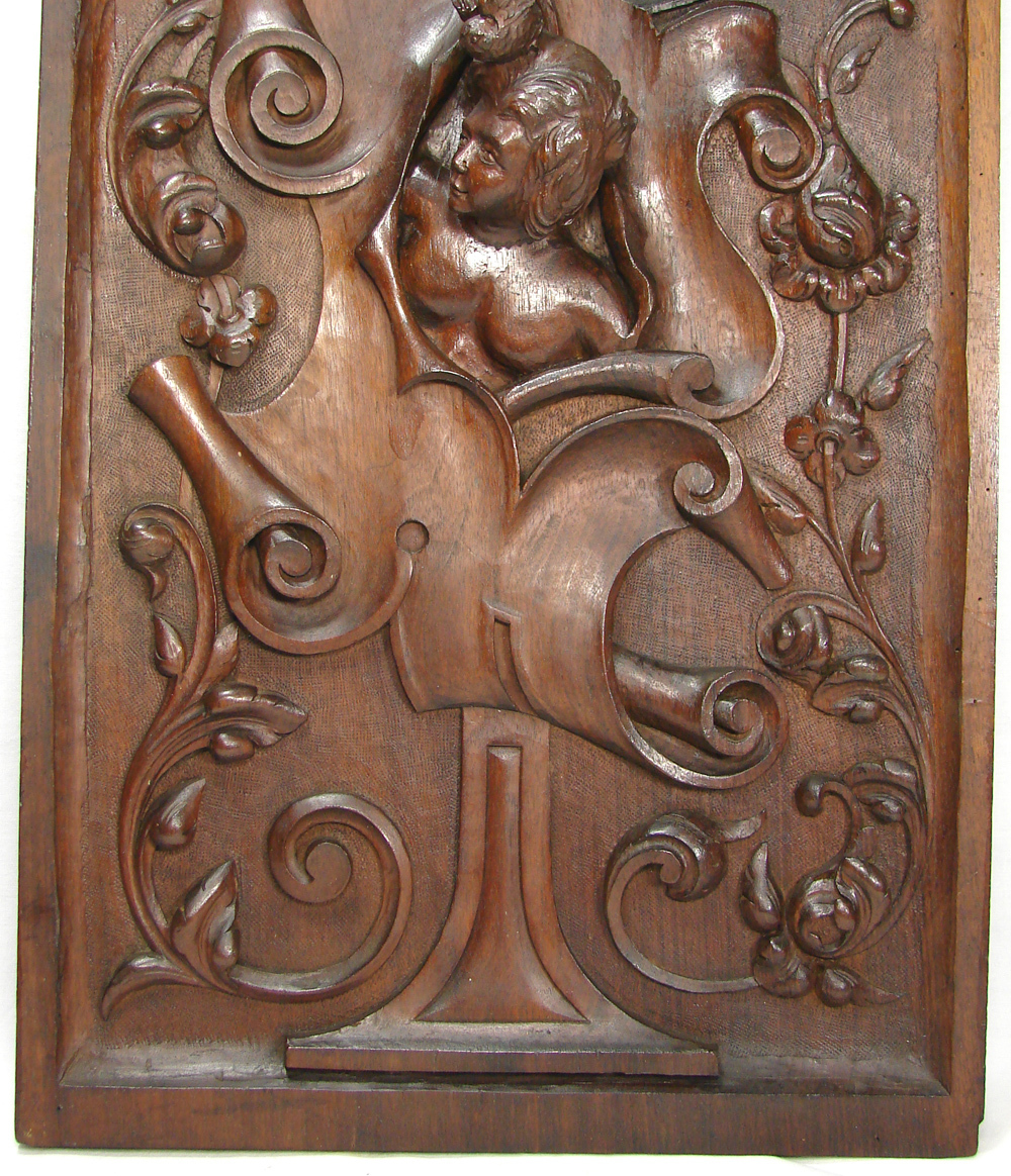 Antique hand carved lg walnut wood panel figural woman s