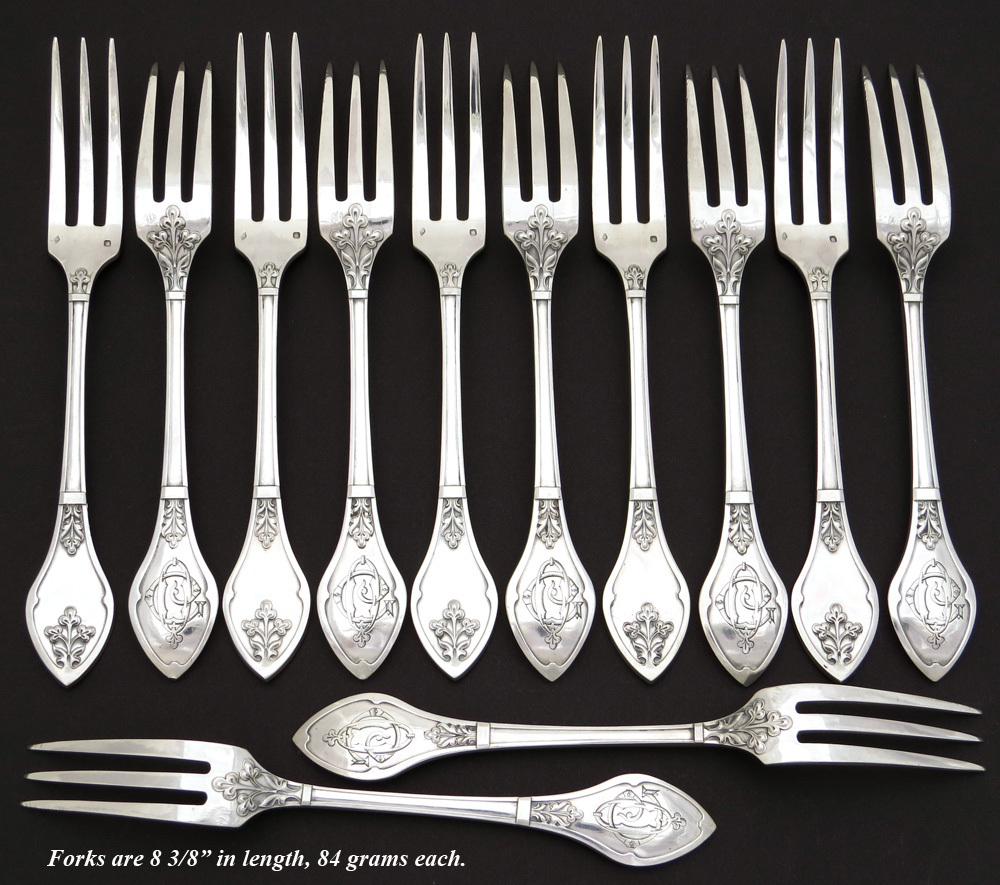Antique french sterling silver 36pc dinner flatware set gothic or egoist style ebay - Medieval silverware ...