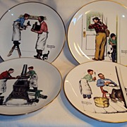 Norman Rockwell Plates set of 4 1979 Four Seasons by Gorham China