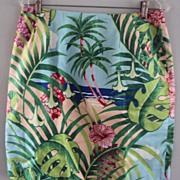 "USA Made ""A Perfect Day In Paradise""  100% Cotton Skirt Vibrant Colors of Sand, Sky"