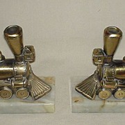 Book Ends Train Locomotive Brass and Marble Free Shipping