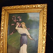 SALE 19c English Oil On Canvas Woman Picking Blossoms Gilt Frame