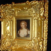SALE Miniature Georgian Portrait On Tin Of Woman