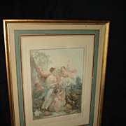 SALE French Mezzotint Cupid and Muse