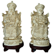 SALE Asian Bone Carvings King and Queen