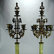 French Large Alabaster Candelabra