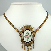 SALE Edwardian Guilloche Floral Necklace