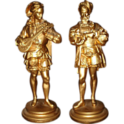 French Gilt Spelter Renaissance Musical Figurines