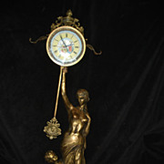 Antique French Bronze Muse Cupid Clock