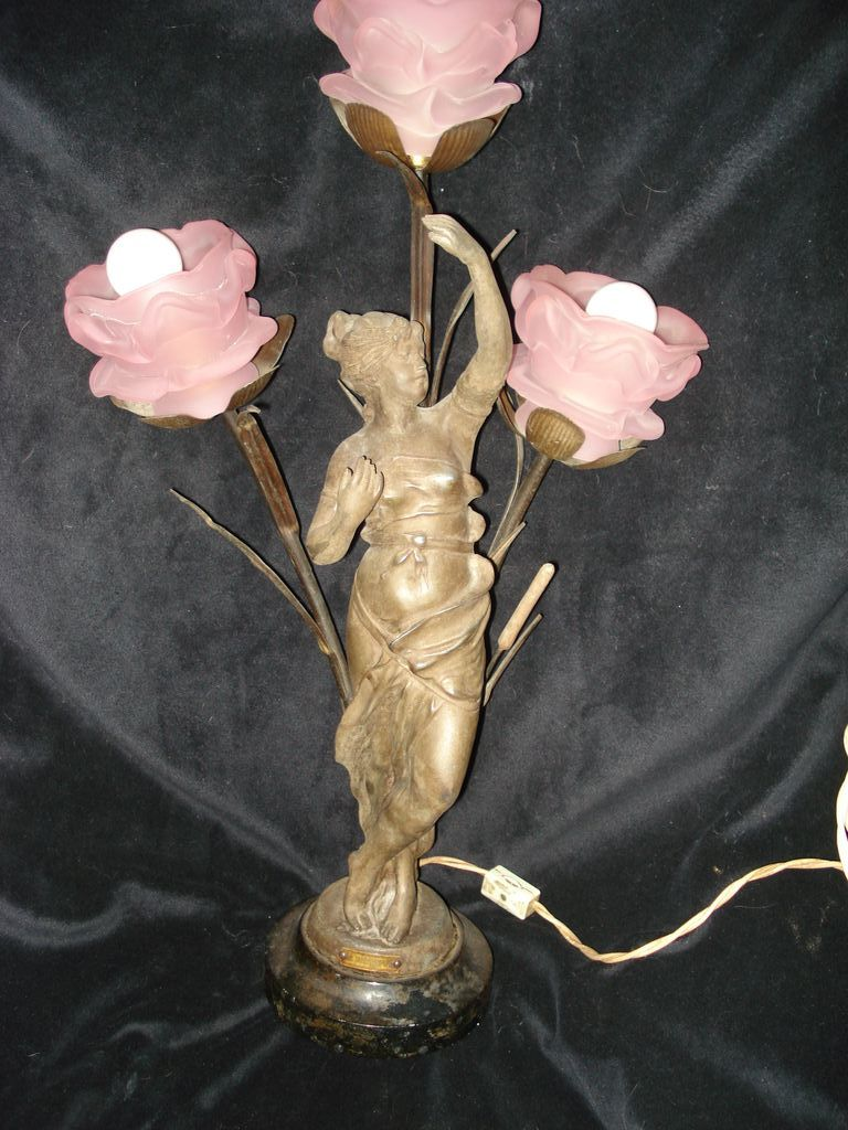"French Art Nouveau Lamp Muse In Reeds ""Le Printemp"""