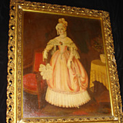 Antique French Painting Of Aristocratic Woman