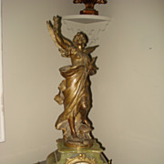 French Alabaster clock Signed A. Moreau