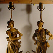 Pair French Moreau  Harvester Lamps