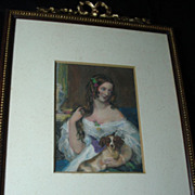 Original Miniature Engraving Aquatint of a Woman