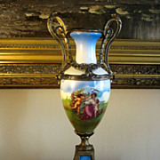 French 19th Porcelain Hand Painted Urn