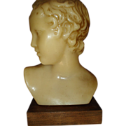 French Signed Wax Sculpture of Young Boy